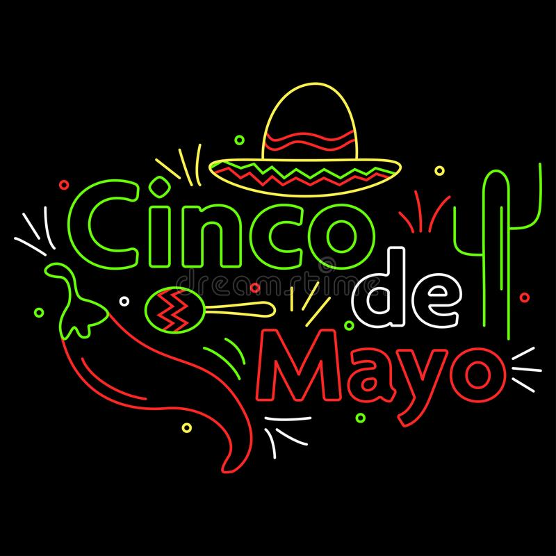 Знамя света неоновой вывески Cinco de mayo иллюстрация штока