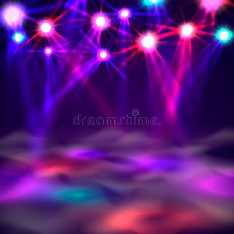 Знамя, свет и дым танцплощадки на этапе бесплатная иллюстрация