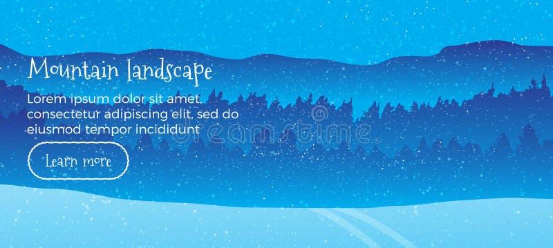 Знамя сети вектора ландшафта зимы Плоский стиль горизонтальная иллюстрация с горами зимы покрытыми снег Отдых на северной природе бесплатная иллюстрация