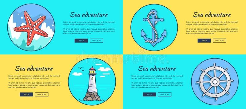 Знамя сети вектора шаблона приключения моря красочное бесплатная иллюстрация