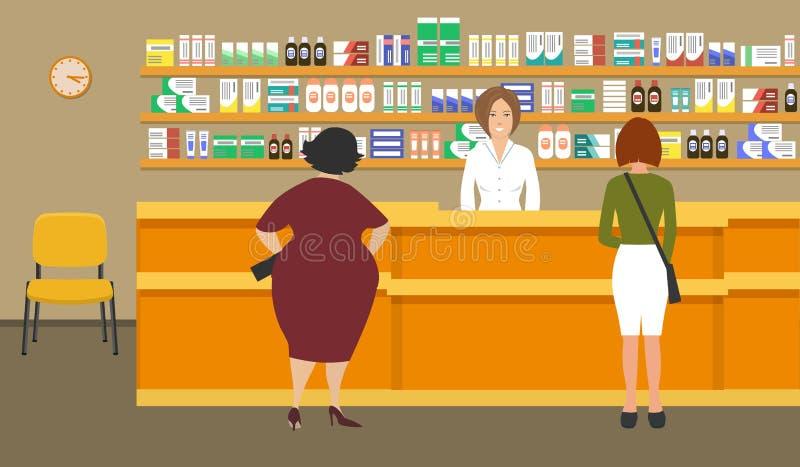 Знамя сети молодой женщины аптекаря на рабочем месте в фармации иллюстрация штока
