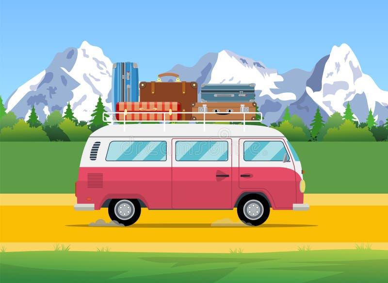 Знамя сети на теме поездки, иллюстрация вектора