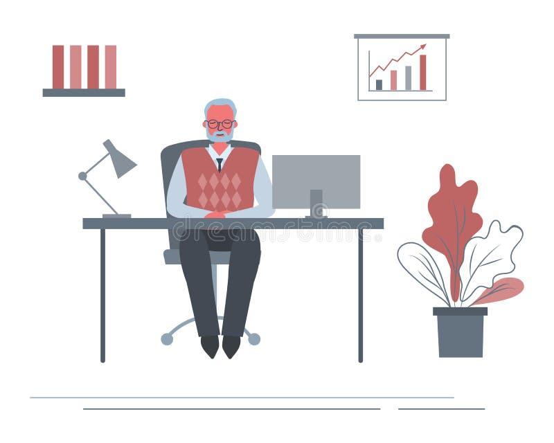 Знамя сети пожилого работника офиса в рабочем месте Старик сидит на столе в комнате офиса бесплатная иллюстрация