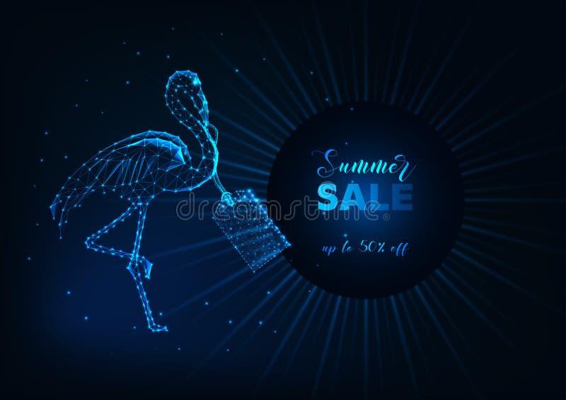 Знамя сети продажи лета с птицей, ценником и текстом фламинго футуристического зарева низкими поли на темно-синем иллюстрация вектора