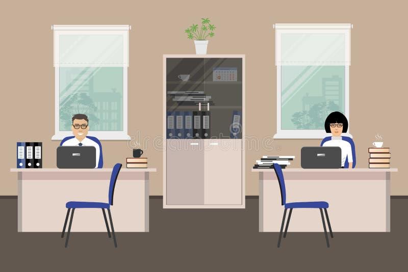 Знамя сети 2 работников офиса Молодая женщина и человек иллюстрация вектора