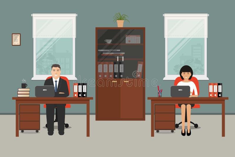Знамя сети 2 работников офиса бесплатная иллюстрация