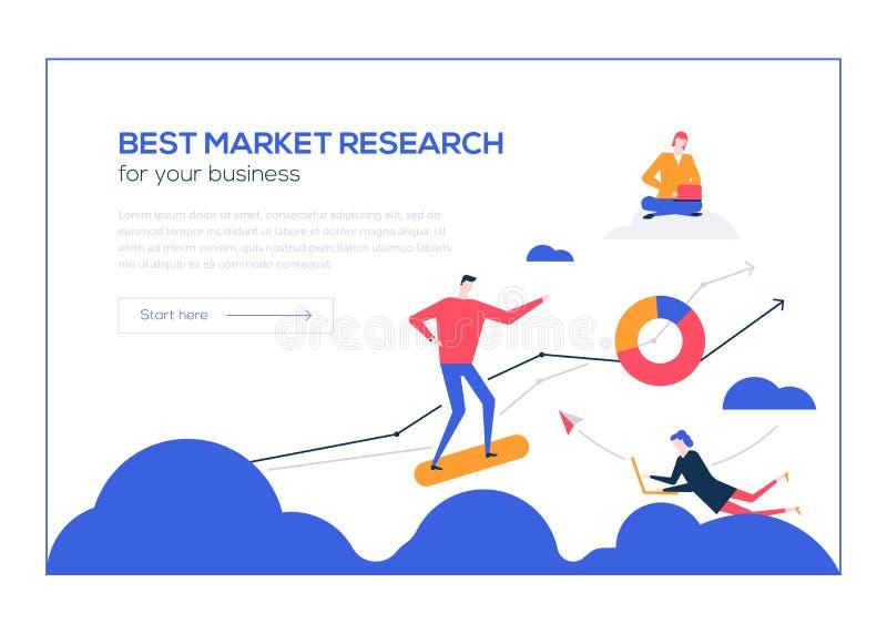 Знамя сети самого лучшего стиля дизайна изучения рынка плоского красочное иллюстрация вектора