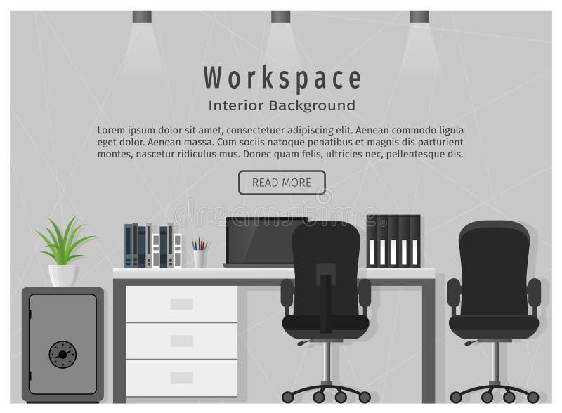 Знамя сети современного рабочего места офиса Концепция организации места для работы бесплатная иллюстрация