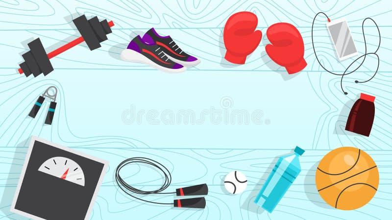 Знамя сети тренировки спорта Время к фитнесу и разминке иллюстрация штока