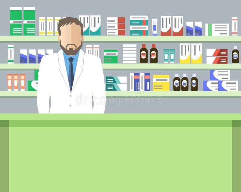 Знамя сети фармации зеленого цвета аптекаря бесплатная иллюстрация