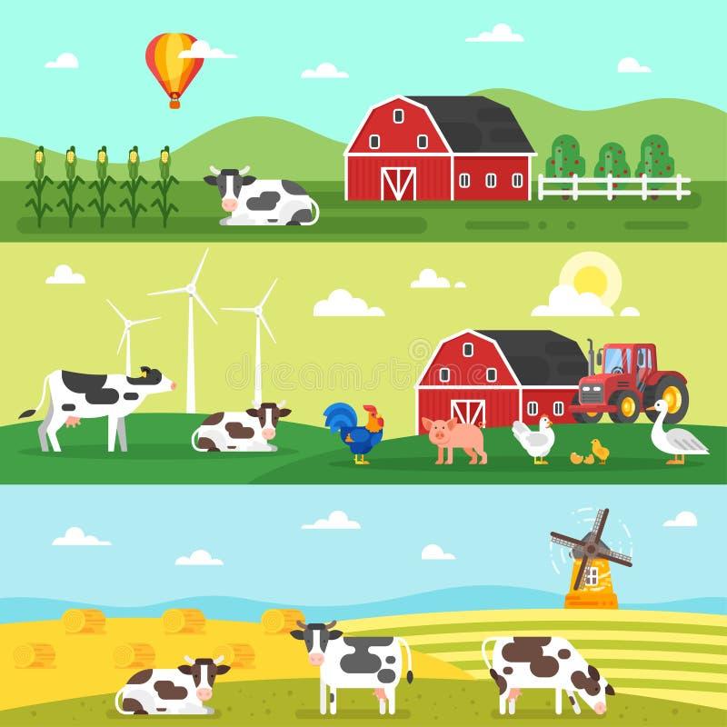 Знамя сети Ферма, фермеры, животноводческие фермы иллюстрация штока
