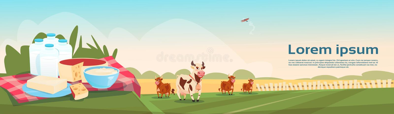 Знамя сельского хозяйства Eco молочных продучтов парного молока коров иллюстрация вектора