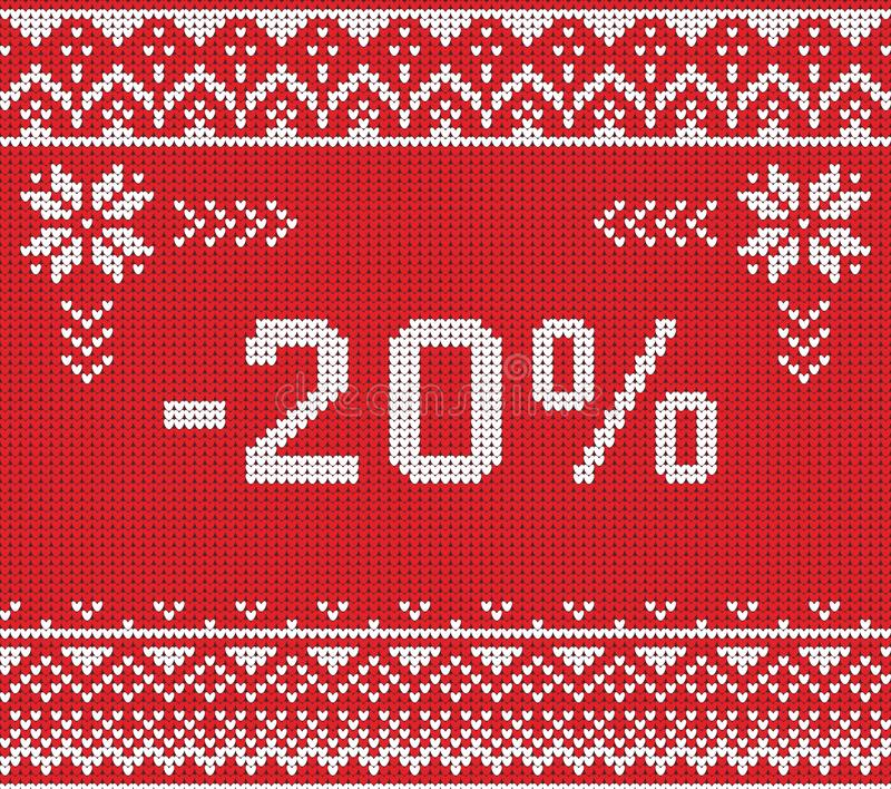 Знамя скидки продажи зимы, связанная картина предпосылки стоковое фото rf