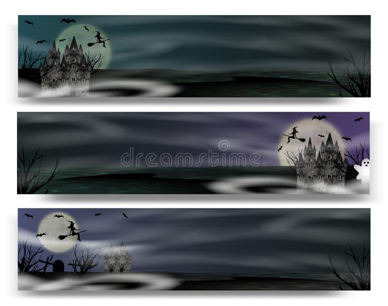 Знамя собрания на хеллоуин с готическим замком, молодой ведьмой летая, призраком и полнолунием вектор иллюстрация вектора