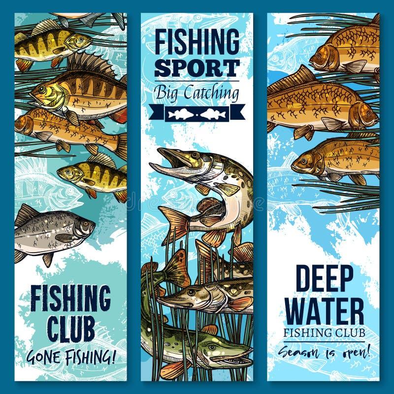 Знамя спортивного клуба рыбной ловли установленное с рыбами заплывания иллюстрация штока