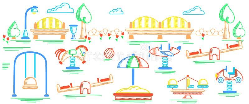 Знамя спортивной площадки Стиль чертежа насиживать детей иллюстрация вектора