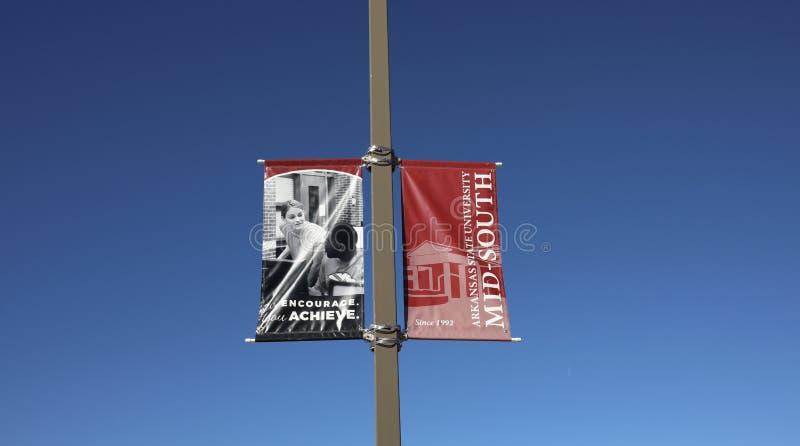 Знамя Средний-юга государственного университета Арканзаса, западный Мемфис, Арканзас стоковые изображения rf