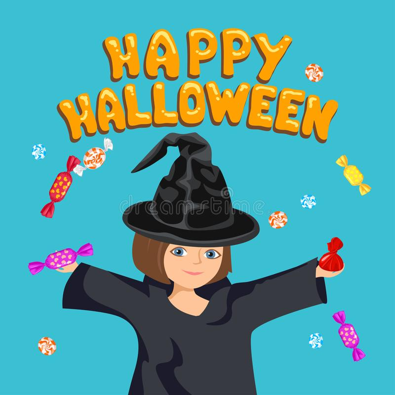 Знамя счастливого хэллоуина Миленькая девушка в шапке-колдуне, в черном плаще в руках конфеты. иллюстрация штока