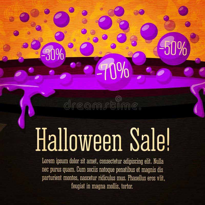 Знамя счастливой продажи хеллоуина милое ретро на иллюстрация вектора