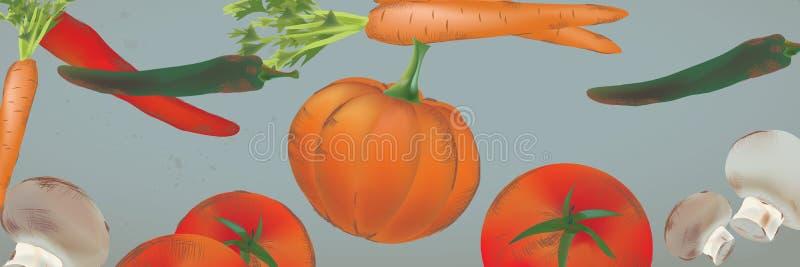 Знамя с безшовной предпосылкой с овощами и плодоовощами бесплатная иллюстрация