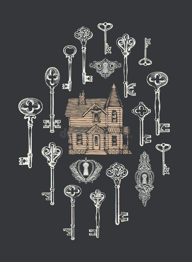Знамя с винтажными ключами, keyholes и старым домом бесплатная иллюстрация