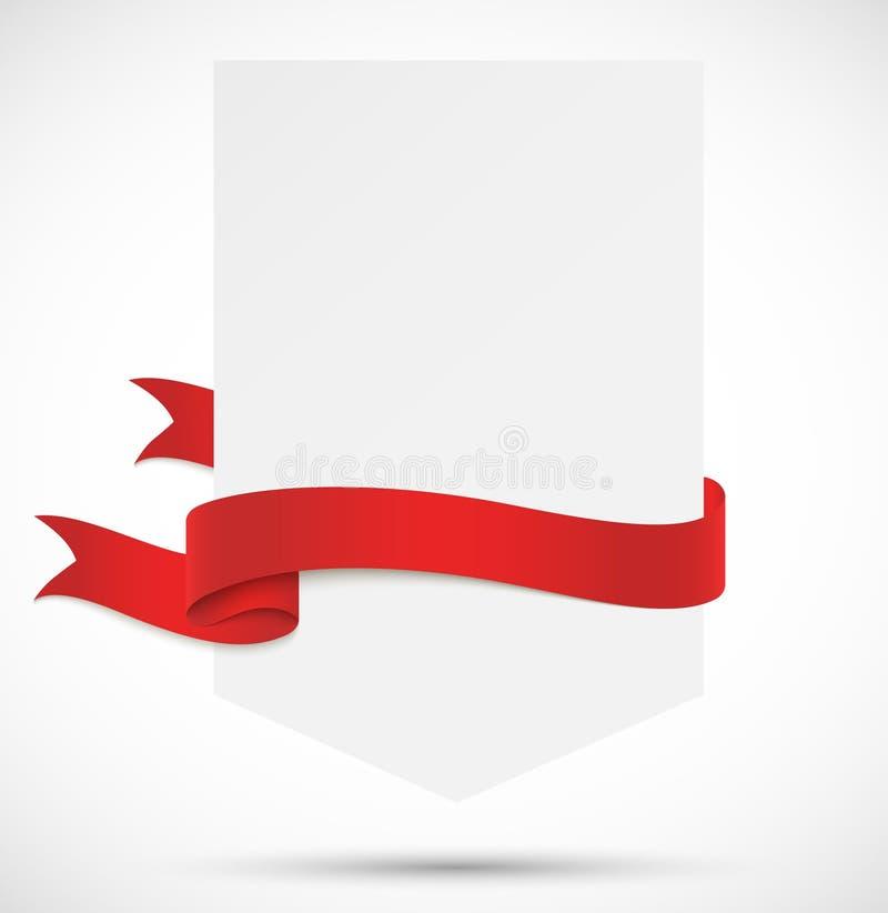 Знамя с красной лентой иллюстрация вектора