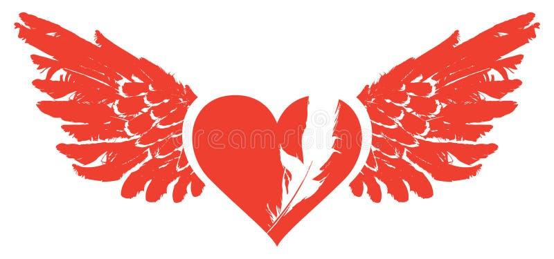 Знамя с красным сердцем летания с крылами иллюстрация вектора