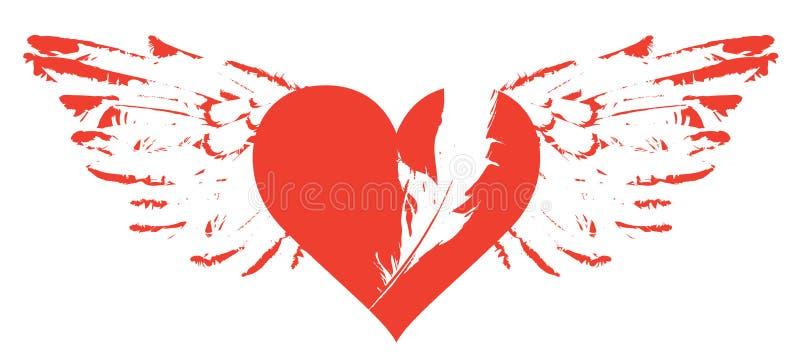 Знамя с красным сердцем летания с крылами иллюстрация штока