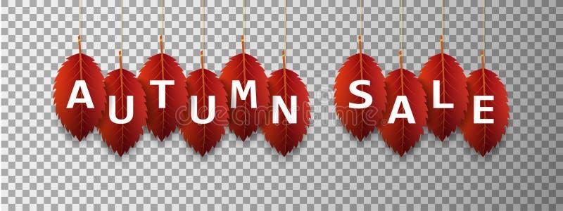 Знамя с красочными листьями осени Знамя продажи осени бесплатная иллюстрация