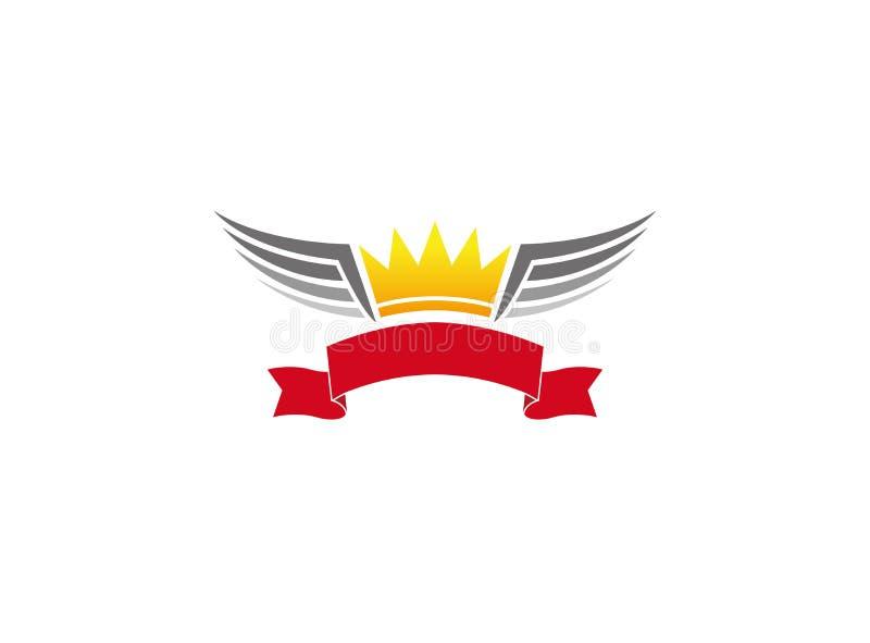 Знамя с кроной и крыльями, гелем ¼ mit Flà кроны для логотипа иллюстрация вектора