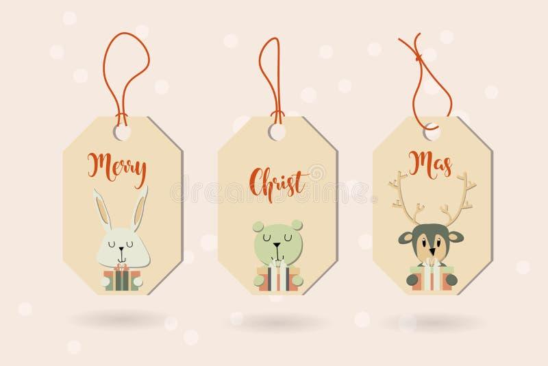 Знамя с милыми животными зимы с настоящими моментами С Рождеством Христовым a стоковая фотография rf