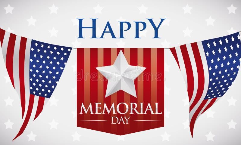 Знамя с приветствием Дня памяти погибших в войнах с овсянками и лентой, иллюстрацией вектора иллюстрация штока