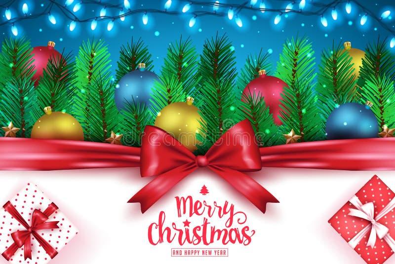 Знамя с Рождеством Христовым и счастливого оформления приветствию Нового Года творческое бесплатная иллюстрация