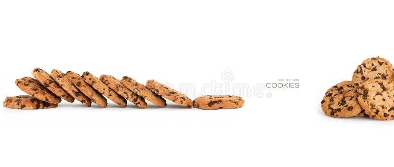 Знамя с хрустящими домодельными печеньями обломока шоколада стоковое фото rf