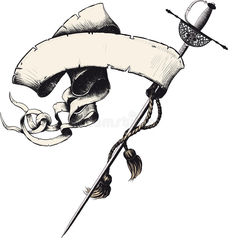 Знамя с шпагой иллюстрация штока