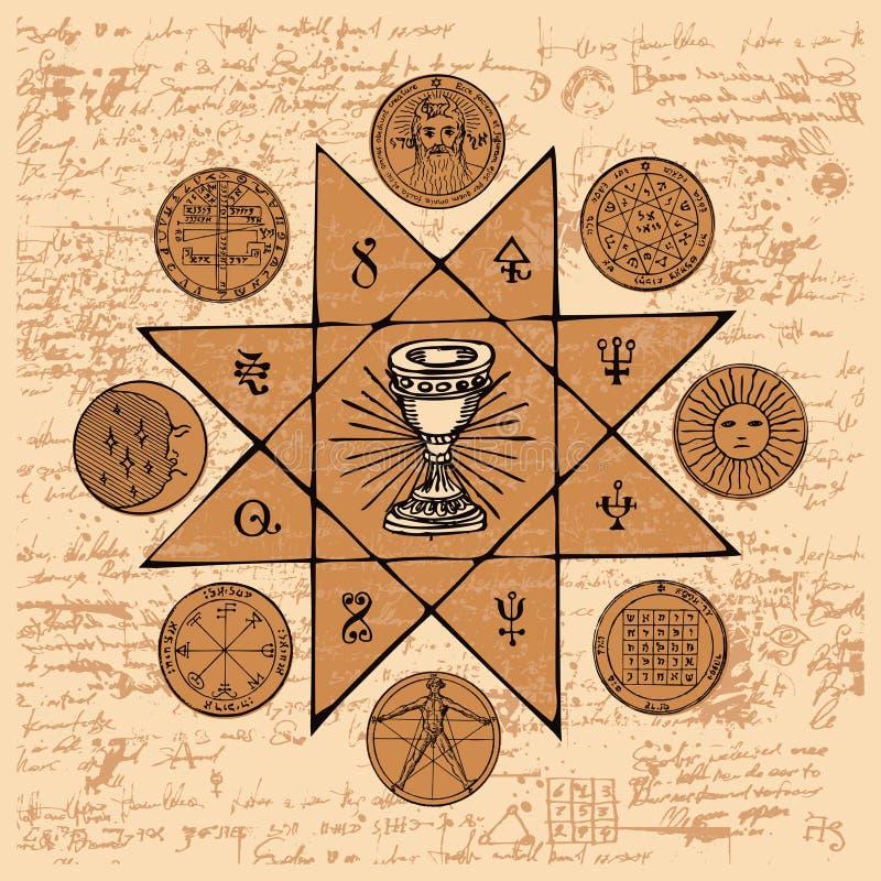 Знамя с Grail и эзотерическими и masonic символами бесплатная иллюстрация
