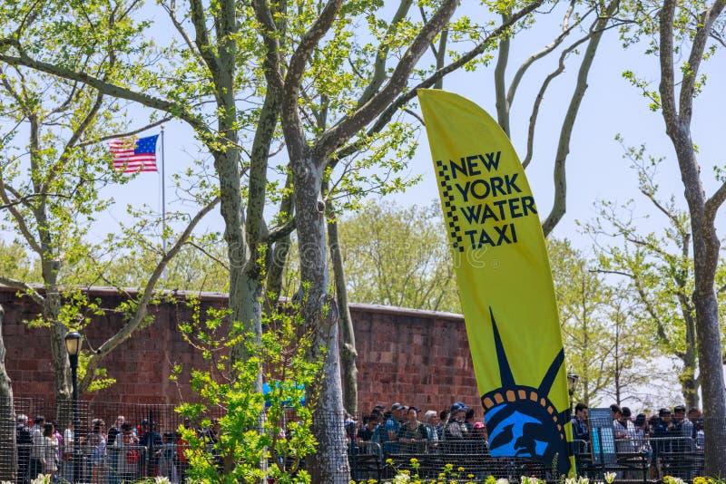 Знамя такси воды Нью-Йорка в парке батареи, NYC стоковое фото rf