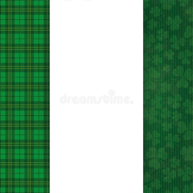 Знамя тартана Cloverleafs крышки дня St Patricks продолговатое иллюстрация вектора