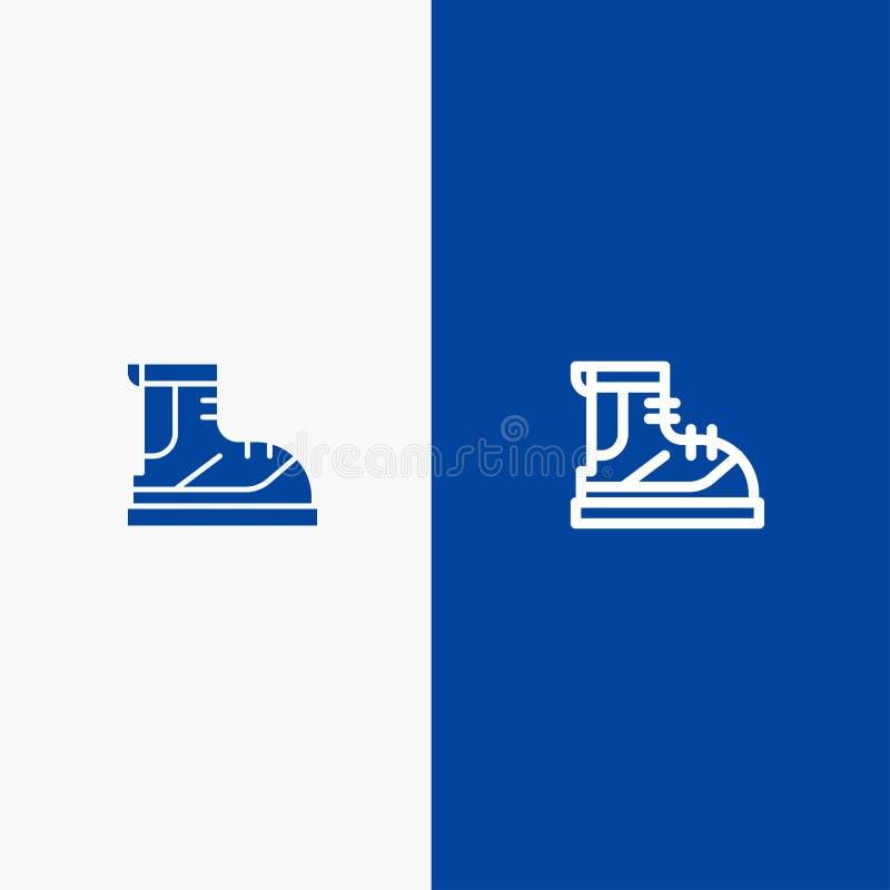 Знамя твердого значка ботинок, Hiker, пешего туризма, следа, линии ботинка и глифа голубое иллюстрация штока