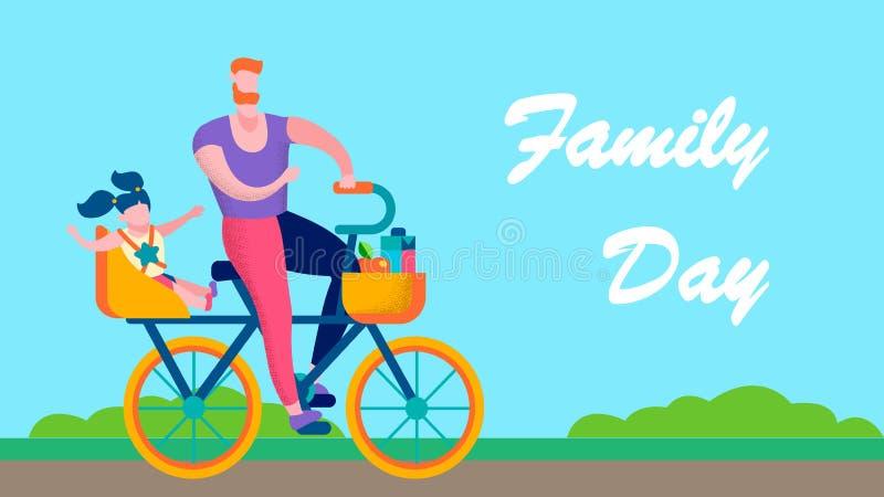 Знамя текста Outdoors дня семьи мотивационное плоское иллюстрация вектора