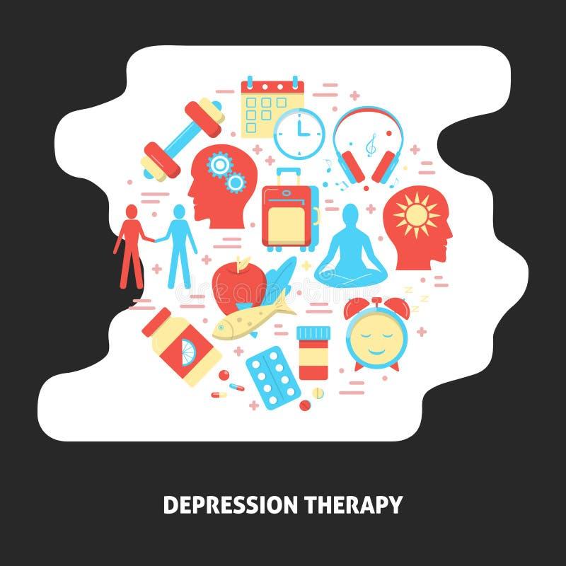 Знамя терапией депрессии с круглой концепцией в плоском стиле бесплатная иллюстрация