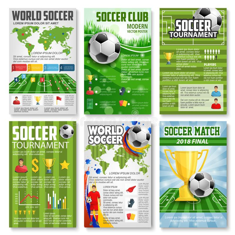 Знамя турнира 3d футбола или футбола с шариком иллюстрация штока