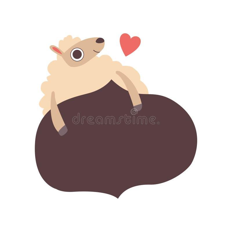 Знамя удерживания овечки черное, милое животное овец мультфильма с пустой иллюстрацией вектора доски знака бесплатная иллюстрация