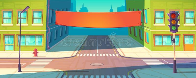 Знамя улицы вектора, плакат Городская реклама, модель-макет продвижения иллюстрация вектора