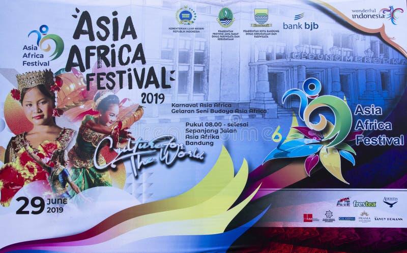 Знамя 2019 фестиваля Азии Африки стоковое изображение rf