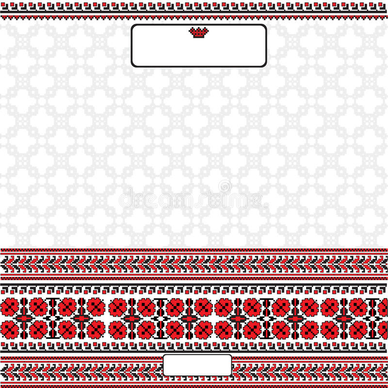 Знамя фольклорного стиля предпосылки украинское с цветком иллюстрация штока