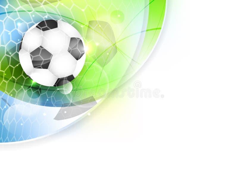 Знамя футбола с сетью, шариком и ярким блеском бесплатная иллюстрация