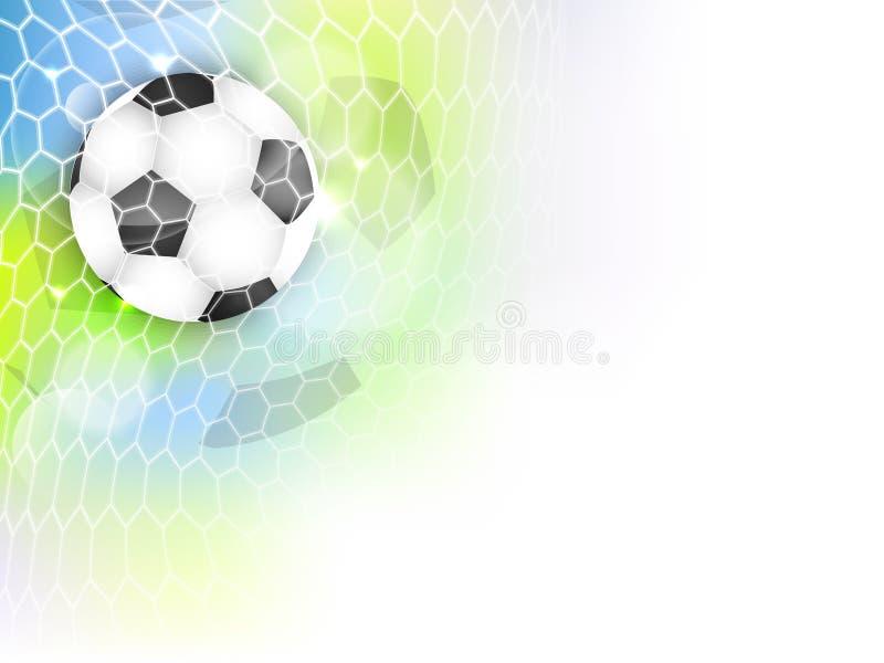 Знамя футбола с шариком, сетью, ярким блеском и космосом футбола для вашего содержания иллюстрация вектора