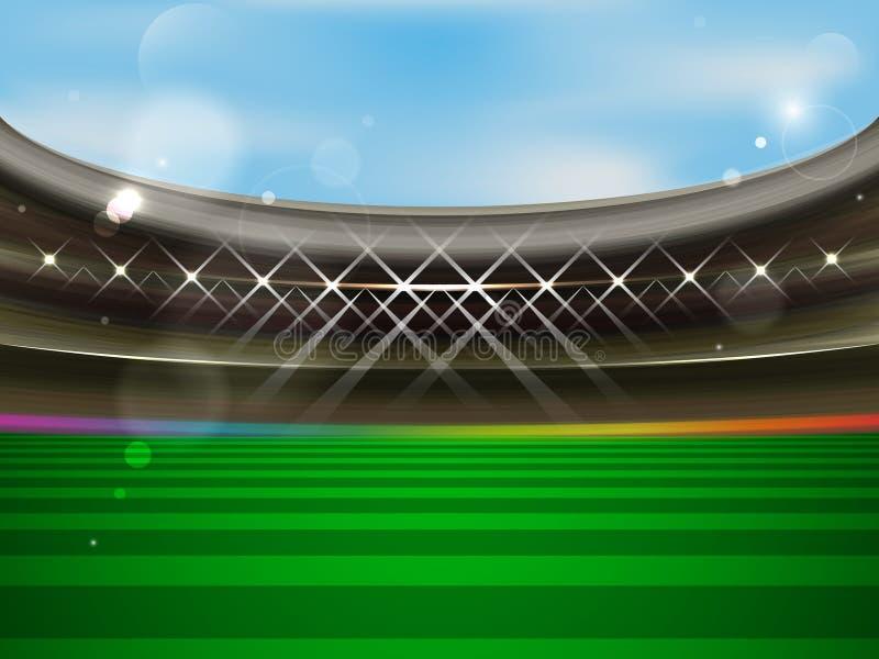 Знамя футбольного стадиона Арена футбола с фарами, трибунами и зеленой травой иллюстрация штока