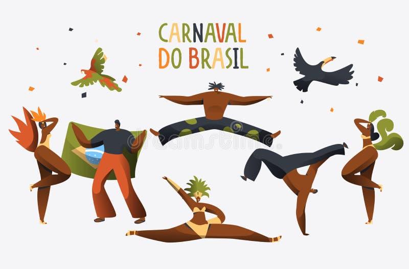 Знамя характера танцора костюма масленицы Бразилии Танец женщины человека на бразильском плакате музыкального фестиваля националь иллюстрация штока